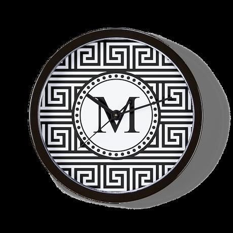 Monogram Black White Greek Key Pattern Wall Clock