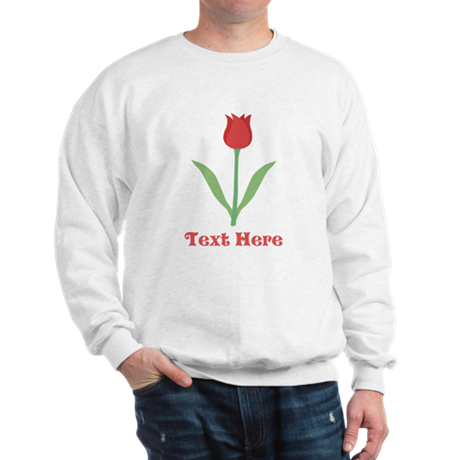 Dark Red Tulip and Text. Sweatshirt