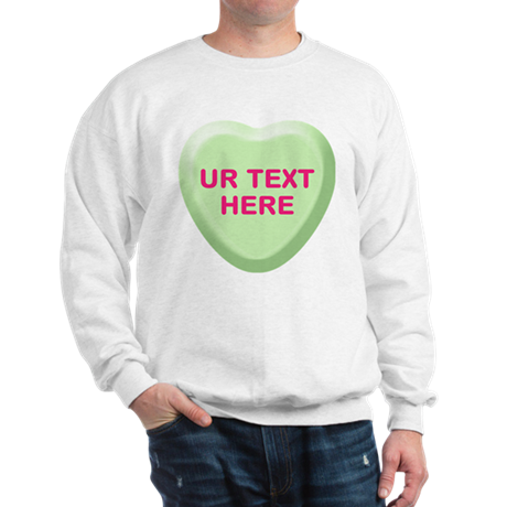 Lime Candy Heart Personalized Sweatshirt