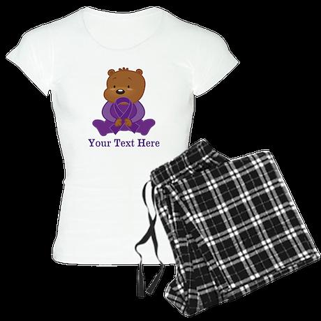 Personalized Purple Awareness Ribbon Bear Pajamas