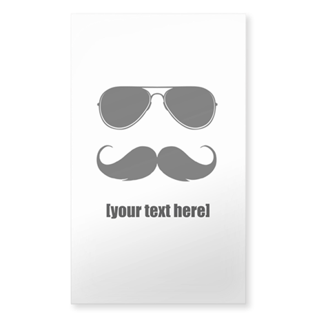 Shades and mustache Sticker (Rectangle)