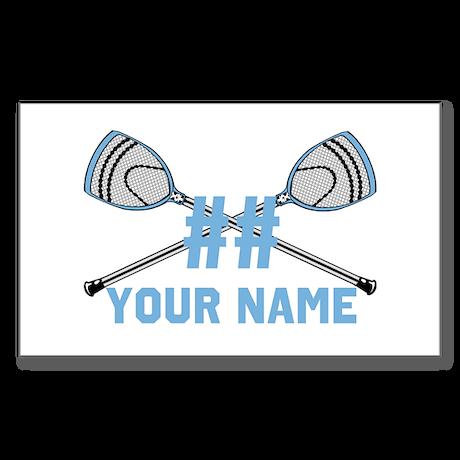 Personalized Crossed Goalie Lacrosse Sticks CBlue