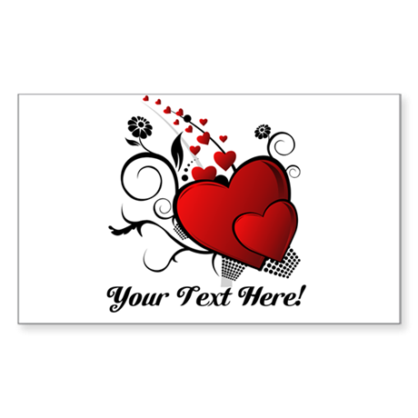 Personalized Red/Black Hearts Sticker (Rectangle)