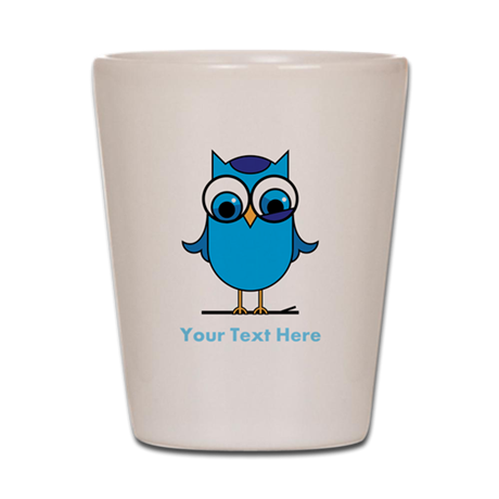 Personalized Blue Owl Shot Glass