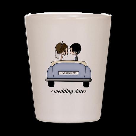 Just Married, Bride and Groom Wedding Car 6 Shot G