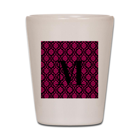 Personalizable Pink and Black Damask Initial Shot