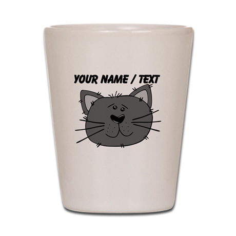 Custom Grey Cat Face Shot Glass