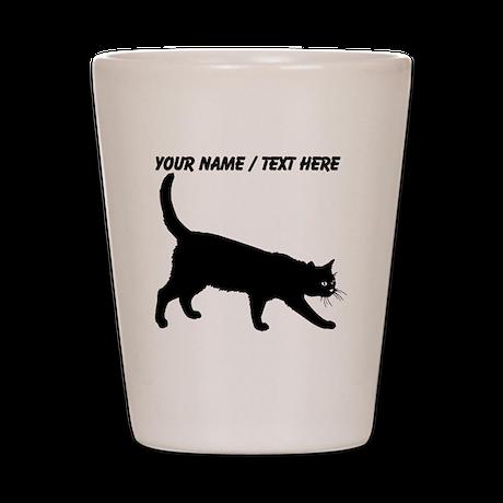 Custom Black Cat Sketch Shot Glass