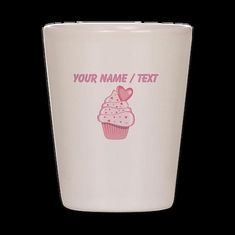 Custom Pink Heart Cupcake Shot Glass