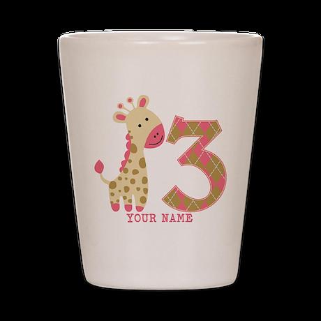 3rd Birthday Pink Giraffe Personalized Shot Glass