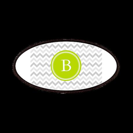 Green Grey Chevron Monogram Patches