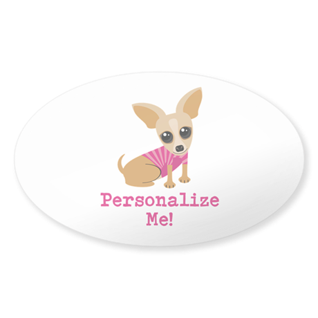 Custom Pink Chihuahua Sticker (Oval)