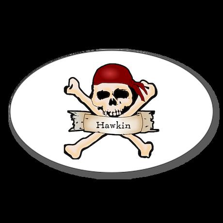 Personalized Pirate Skull Sticker (Oval)