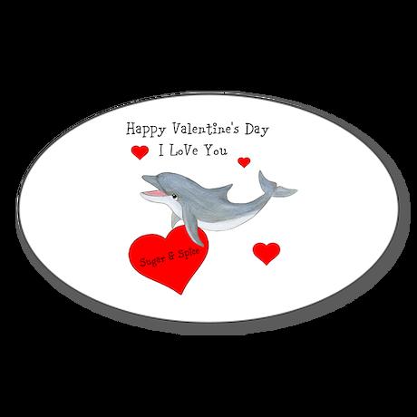 Personalized Dolphin Valentine Sticker (Oval)