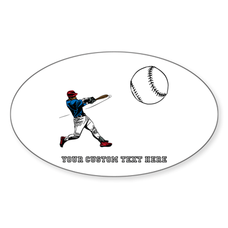 Baseball Player with Custom Text Sticker (Oval)
