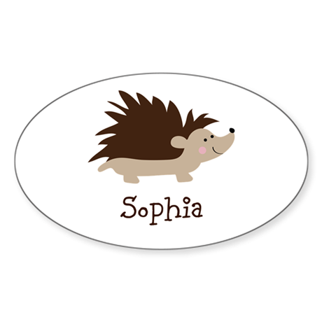 Custom Name Hedgehog Sticker (Oval)