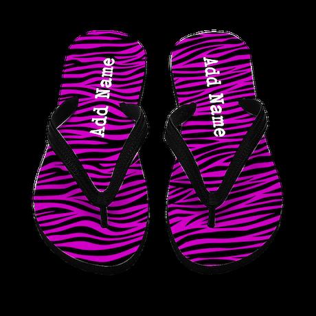 zebra stripes purple Flip Flops