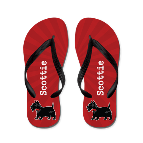Personalizable Scottish Terrier Red Flip Flops