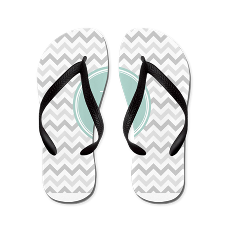 Mint Grey Chevron Flip Flops