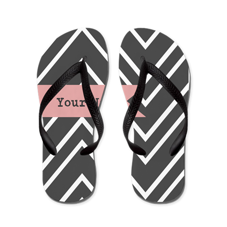 Charcoal and Coral Chevron -Personalized Flip Flop