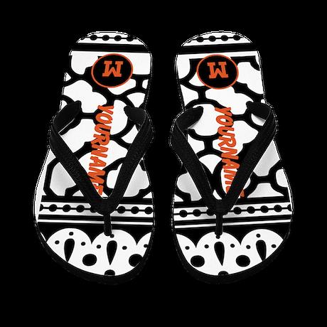 Quatrefoil Pattern Monogram Flip Flops