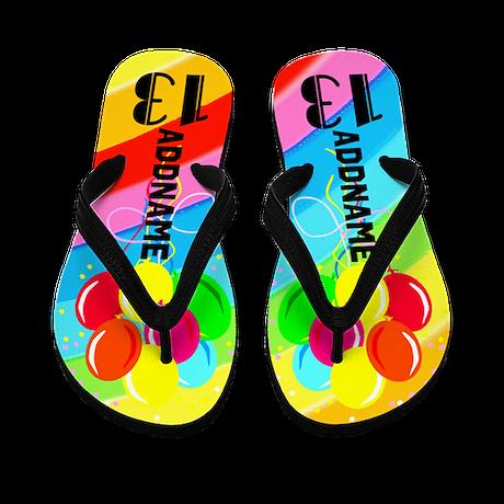 Colorful 13Th Flip Flops