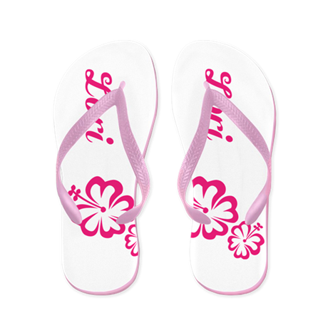 Custom Name Pink Hibiscus Hawaii Dream Flip Flops