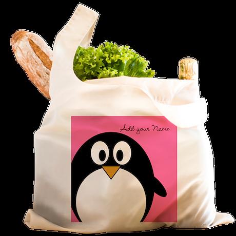 Add NAME - Penguin PINK Reusable Shopping Bag