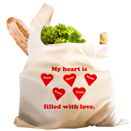 Personalized My Heart Filled Reusable Shopping Bag