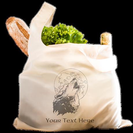 Wolf and Moon. Custom Text. Reusable Shopping Bag