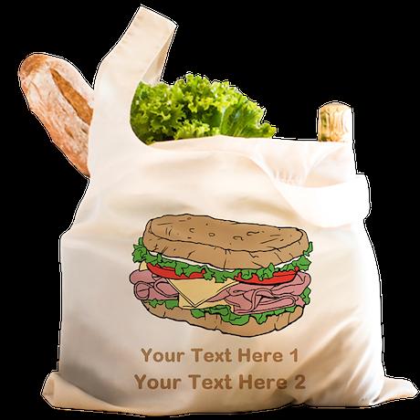 Sandwich. Custom Text. Reusable Shopping Bag
