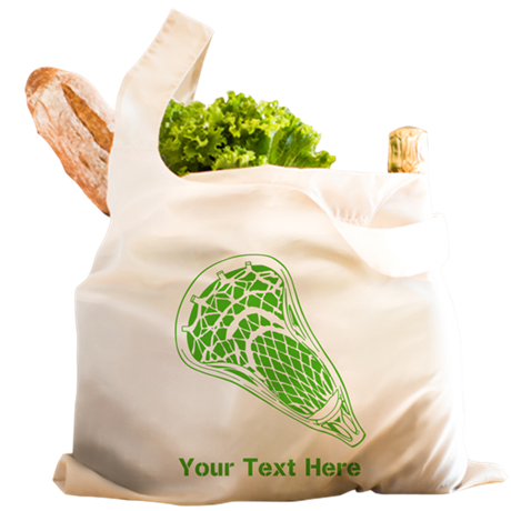 Lacrosse Crosse. Green Text. Reusable Shopping Bag