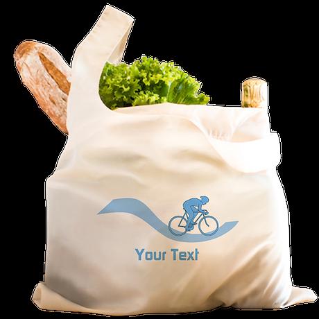 Cyclist in Blue. Custom Text. Reusable Shopping Ba