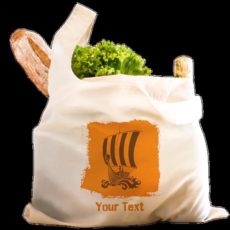Viking Boat and Text. Reusable Shopping Bag