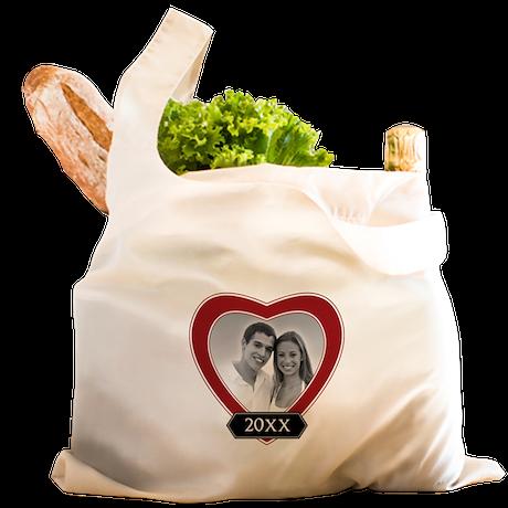 ADD PHOTO - heart frame Reusable Shopping Bag