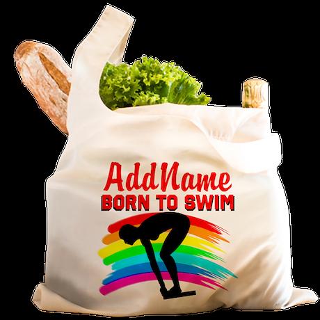 BORN TO SWIM Reusable Shopping Bag