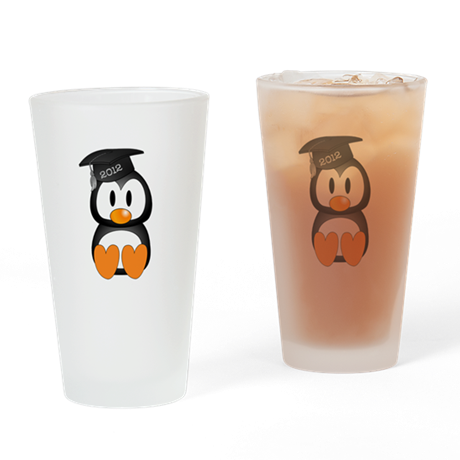 Custom Graduation Penguin Drinking Glass