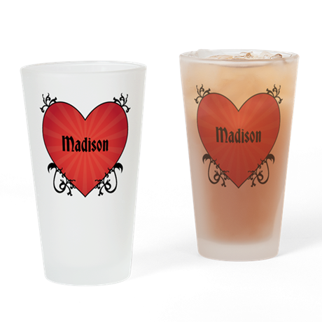 Custom Name Tattoo Heart Drinking Glass