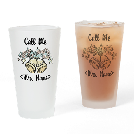 Custom Just Married (Mrs. Name) Drinking Glass