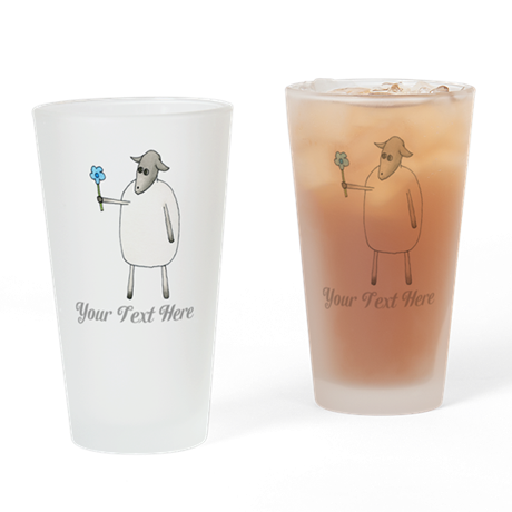 Sheep and Custom Text. Drinking Glass