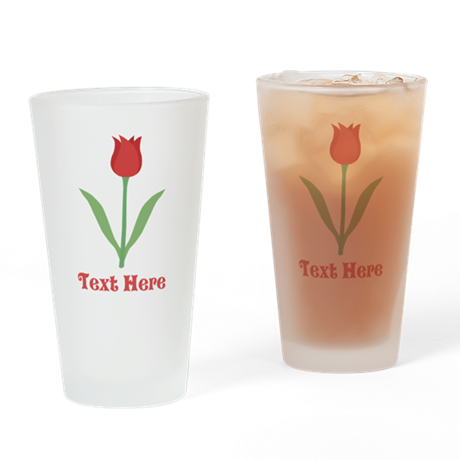 Dark Red Tulip and Text. Drinking Glass