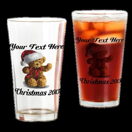Christmas Teddy Drinking Glass