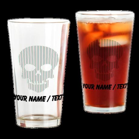 Custom Skull Vertical Stripes Drinking Glass