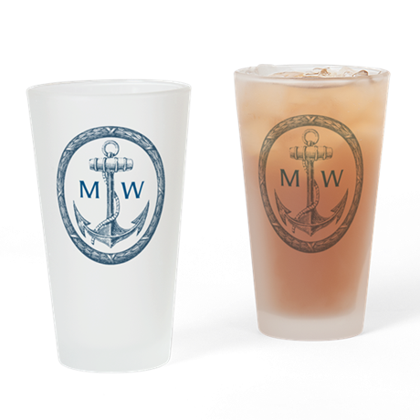 Anchor, Nautical Monogram Drinking Glass
