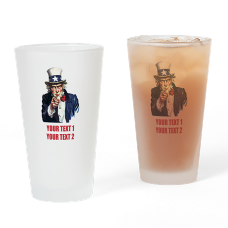 [Your text] Uncle Sam 2 Drinking Glass