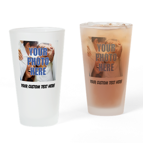 Custom Photo and Text Drinking Glass