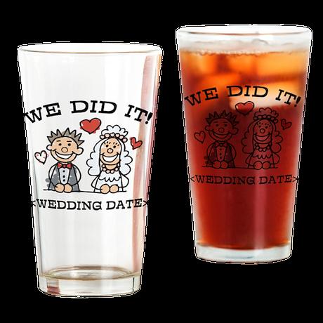 Funny Just Married (Add Wedding Date) Drinking Gla