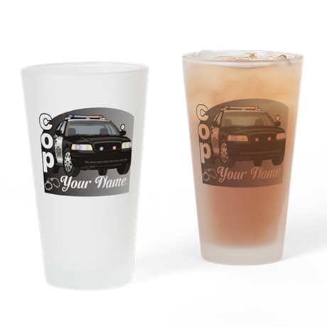 Custom Personalized Cop Drinking Glass