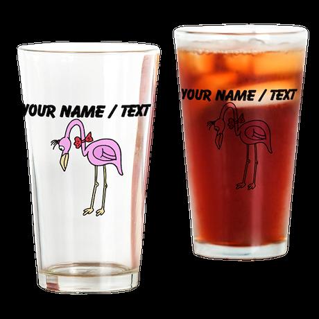 Custom Pink Flamingo Drinking Glass