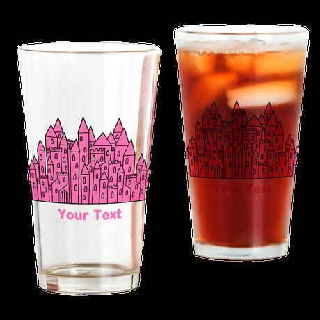 Dark Pink Castle, Custom Text. Drinking Glass